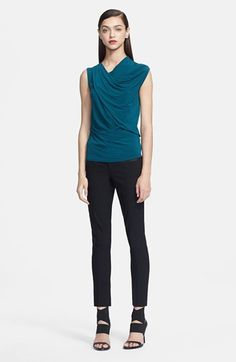 Helmut Lang Top & Ankle Pants - - love the whole outfit. Interesting neck line and the bold color make me swoon over this top. I gravitate to teal/mint/sea aka: blues and greens. They look best with my fair skin. This outfit is a great standard for me to go from work to weekend.