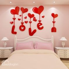 Love and Heart Shapes Acrylic Waterproof Sturdy and Eco-friendly Wall Stickers Diy Crafts For Gifts, Diy Home Crafts, Diy Arts And Crafts, Diy Valentine's Day Decorations, Valentines Day Decorations, Neutral Living Room Colors, Romantic Room Surprise, Romantic Room Decoration, Valentines Art