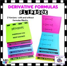Calculus Derivatives Flip Book.  Perfect for ALL calculus students, AB, BC, Honors and College!!  This new Flip Book includes all 24  derivative formulas that students must learn to succeed in Calculus, plus some hints and examples.  Two versions of the  flip book are included, one with the formulas typed in and the other for the students to fill in themselves.The Flip Book is a perfect size for traditional or Interactive Notebooks, or just to use for studying before a test and makes a great…