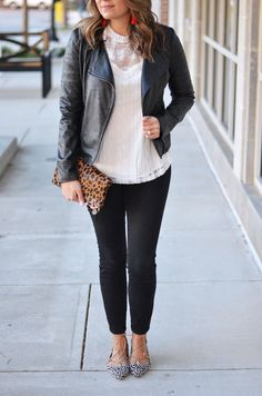 leather and lace - black leather moto jacket and lace top | www.bylaurenm.com