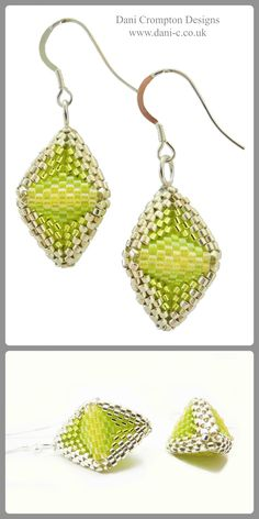 Beaded 'Pod' drop earrings in summery Lime Zest yellow hung on sterling silver hooks. Stunning and stylish earrings for day and evening wear. Size : 4cm x 1.5cm x 1.5cm    #DaniCromptonDesigns    www.dani-c.co.uk