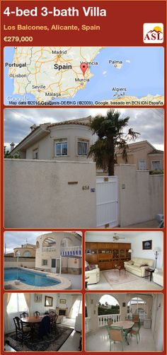 Villa for Sale in Los Balcones, Alicante, Spain with 4 bedrooms, 3 bathrooms - A Spanish Life Murcia, Portugal, Log Fires, Villa With Private Pool, Alicante Spain, Central Heating, Double Bedroom, Storage Room, Ceiling Fan
