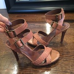 Marc Fisher tan/nude sandals Marc Fisher tan or nude sandals. Two separate buckles. Worn one time. Size 8. Very soft leather so doesn't hurt your ankles. 4.5 inch heel Marc Fisher Shoes Sandals