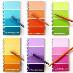 Recycled Paint Sample Notebooks. No tutorial here but cute idea.