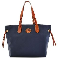 Dooney & Bourke Nylon Tote ($139) ❤ liked on Polyvore featuring bags, handbags, tote bags, navy, shopper tote bag, dooney bourke tote, nylon shopping tote, nylon handbags and navy blue tote bag