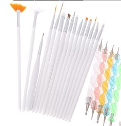 Hot-Professional 20Pcs Nail Brush Nail Art Design Painting Dotting Detailing Pen Brushes Bundle Tool Kit Set