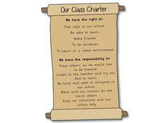 Ideas For School - Classroom Management - Editable Class Charter Scroll Classroom Displays, Classroom Organization, Kindergarten Classroom, School Classroom, Class Management, Classroom Management, Children's Rights And Responsibilities, Classroom Charter, Rights Respecting Schools