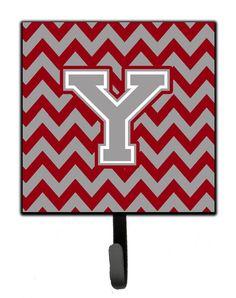 Letter Y Chevron Crimson and Grey Leash or Key Holder CJ1043-YSH4