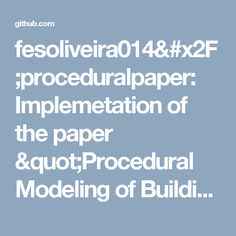 """Implemetation of the paper """"Procedural Modeling of Buildings"""", by Peter Wonka and Pascal Müller. Machine Learning, Modeling, Buildings, Paper, Modeling Photography, Models"""