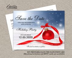 Festive DIY Printable Christmas Party Invitation Save The Date By iDesignStationery on Etsy