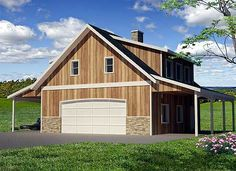 Charming one car garage apartment plan house plans for Barn guest house plans