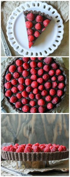 This No-Bake Raspberry Chocolate Tart comes together in just ten minutes! It's Paleo-friendly, gluten free, vegan, and refined sugar free.: