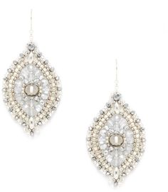 Miguel Ases Silver Beaded Drop Earrings on shopstyle.com