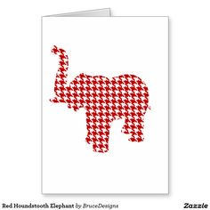 Red Houndstooth Elephant Greeting Card