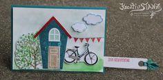 KreativStanz Stampin' Up! Ziehkarte Gartenhaus Ein Haus für alle Fälle Baum der Freundschaft Fahrrad