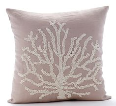 Mocha Throw Pillow Covers  Square  Beaded Sea by TheHomeCentric