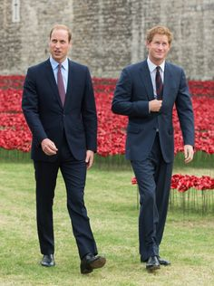 Pin for Later: Prince William and Prince Harry's Cutest Moments Together Through the Years  The pair visited the Tower of London to check out the poppy installation commemorating the 100th anniversary of WWI in August 2014.