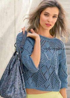Ideas Crochet Sweater Pattern Free Pullover Knit Tops For 2019 Crochet Beach Dress, Crochet Blouse, Knitting Patterns Free, Free Knitting, Knitting Needles, Summer Knitting, Knitting Accessories, Knit Fashion, Top Pattern