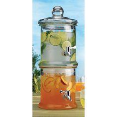 Fancy - Home Essentials Del Sol Two-Tier Glass Beverage Dispenser - Beyond the Rack Glass Beverage Dispenser, Water Dispenser, Best Gifts For Mom, Double Glass, Round Glass, Kitchen Gifts, Kitchen Stuff, Kitchen Ideas, Kitchen Ware