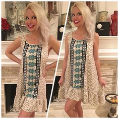 Stunning! cream/teal hi lo ruffled dress! Floral print tunic/dress featuring Hi-lo ruffled hem. Non-sheer. Lightweight. Stunning color contrast!  Follow me on Instagram @kfab333 for more items😊 Dresses