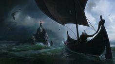Eldberg Lighthouse - The Witcher 3 by Jeremy Paillotan. ArtStation  Geralt on a boat approaching the Eldberg lighthouse on Ard Skellig.