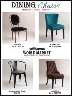 Interior Design Boards, Cost Plus World Market, Dining Chairs, Online interior design services, e-décorating, Home furniture, www.stellarinteriordesign.com/design/
