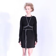With a changeable sash you could play around with this one - Black Jersey Long Sleeved Dress With Long Cable Sash. Sleeved Dress, Fringes, Sash, Fitness Fashion, Cable, Play, Creative, How To Make, Stuff To Buy