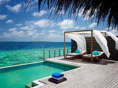 Dusit Thani is a luxury resort in the Maldives located near Hanifaru Huraa, a UNESCO World Biosphere Reserve