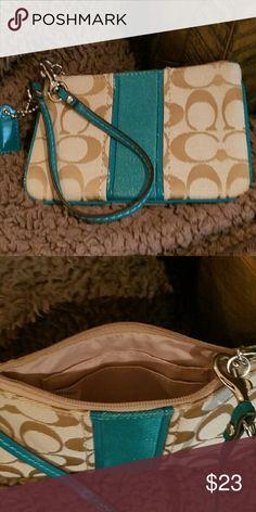 Coach wristlet Tan Coach wristlet with Beachy Blue Strap and Stripe Coach Bags Clutches & Wristlets