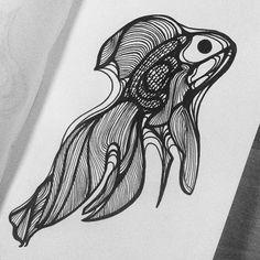 HURUPMUNCH, illustration, black pen, drawing, grapich, drawing, black&white, doodle, goldfish