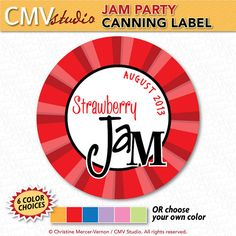 Printable Canning Jar Label  Jam Party by CMVstudio on Etsy, $5.00