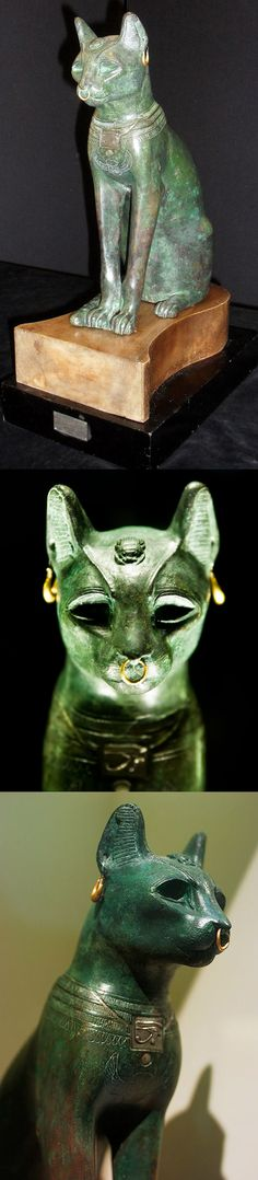 86ff11516 Ancient Egyptian statue of a cat made out of bronze, from the Late Period,
