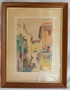 Painting Smith Tangier Casbah Women Romantic Architecture Riad Orientalism Arab  | eBay Romantic Flowers, Tangier, North Africa, African Art, Female Art, Architecture, Frame, Ebay, Middle