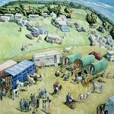 Francis Farmar The Gypsy Horse Fair, Stow-on-the-Wold Gloucestershire The fair takes place twice a year, spring and autumn John Galliano, Gypsy Quotes, Steve Madden, Stow On The Wold, Village Fete, Gypsy Horse, Gypsy Caravan, Illustration Art, Horses