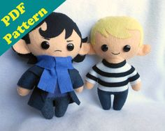 daww so cute PDF PATTERN BUNDLE- Sherlock Holmes  Watson Chibi Plush (Digital Download)