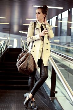 casual yet sophisticated #leather #trenchcoat #tie