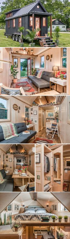 The Riverside tiny house from New Frontier Tiny Homes. This tiny house has such pretty touches. The Riverside tiny house from New Frontier Tiny Homes. This tiny house has such pretty touches. Tyni House, Tiny House Living, Small Living, Cottage House, House And Home, Tiny House Kitchens, Tiny House Closet, Loft Closet, Living Room