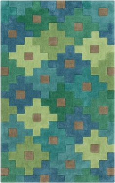 Luscious hues of blue, green, and teal stand out in a quilt like pattern. New from the Cosmopolitan Collection of rugs by Surya. (COS-9230)