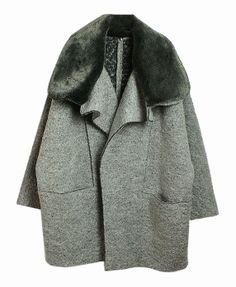 Detachable Fur Collar Oversized Coat - Clothing