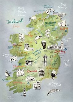 Ireland Map, Map of Ireland by Theresa Grieben, illustrated map art print of Ireland, art poster, road trip map Irland Landkarte. This is a high quality print of my hand drawn map of Ireland (and Northern Ireland). I illustrated the towns as well as the stunning nature and animal wildlife of this beautiful country in Western Europe. Its the perfect present for any Irish native and its an awesome farewell gift for someone travelling to Ireland or coming back. Ireland Roadtrip #irelandtravel