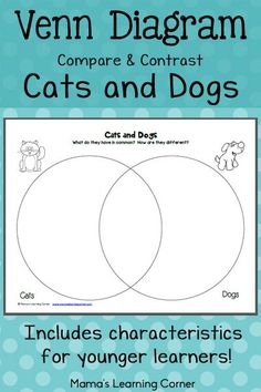 Venn Diagram: Compare and contrast cats and dogs. Includes characteristics for younger learners to sort.