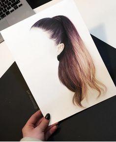This looks like Ariana Grande's hair! I love it! Amazing Drawings, Beautiful Drawings, Amazing Art, Art Drawings Sketches, Cute Drawings, Hair Drawings, Hair Illustration, Hair Sketch, Anime Hair