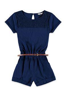 Belted Lace-Paneled Romper (Kids) | Forever 21 girls | #f21kids #lyoness