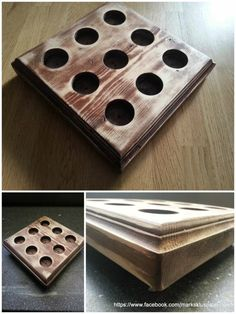 And again a candles tray. This time, a square model made from a piece of scrap wood that I had lying around. First a layer of dark varnish, partly sanded, and to finish a couple of coats of clear varnish.…