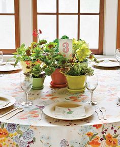 """See the """"Herb Centerpieces"""" in our Favors as Centerpieces gallery via Martha Stewart Weddings Potted Plant Centerpieces, Succulent Wedding Centerpieces, Table Arrangements, Flower Centerpieces, Potted Plants, Centerpiece Ideas, Potted Flowers, Potted Geraniums, Flower Pots"""