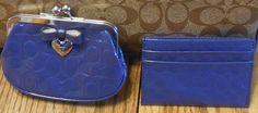 NWT Coach Coin Purse 65657/ Card Case 62544/ Navy/Silver #Coach