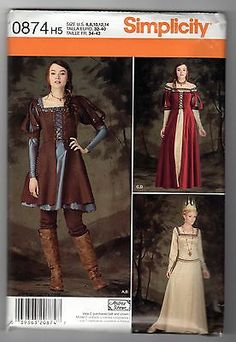 Simplicity 0874 6 14 Sewing Pattern Medieval Dress Gown Vest Top Movie Costume | eBay