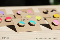 Handmade Round Shape Painted Wood Earrings by sumdstore