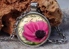Pink poppy necklace Pink flower pendant Pink poppy by Aranji