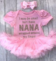 7c42b574f94 Baby girl personalised Nana quote light pink tutu romper dress glitter text  with headband